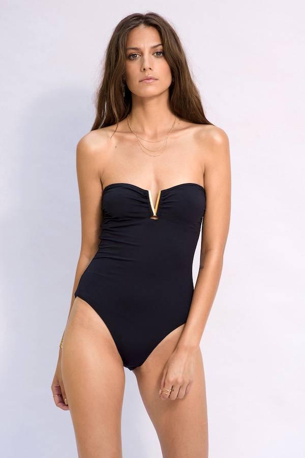 bc0398426f Maillot de bain femme 1 pièce chic bustier avec coques amovibles à la  poitrine ...